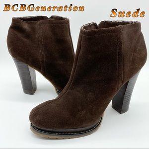 BCBGeneration-Suede- Dark Brown Heel Bootie 8.5